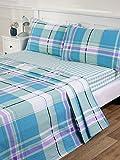 Atlanta Biber-Bettlaken in Blau erhältlich in Einzelbett Doppelbett und Kingsize, blau, Einzelbett