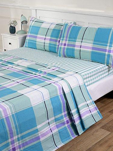 flanellbettlaken Atlanta Biber-Bettlaken in Blau erhältlich in Einzelbett Doppelbett und Kingsize, blau, Doppelbett