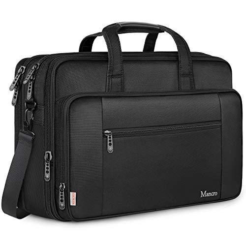 MANCRO Laptop Tasche, 18,4 Zoll Gaming Notebook Aktentasche große Umhängetasche Wasser Resisatant Multi-funktionale erweiterbare Computer Schultertaschen MEHRWEG
