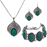 YAZILIND Jewelry Sets Silver Plated Retro Turquoise Claw Flower Pendant Necklace Drop Earrings Charming Bracelet 51oNm3w11HL
