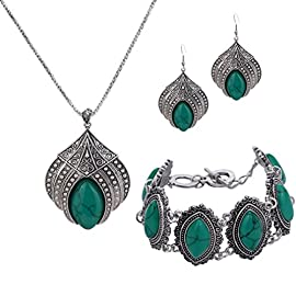 YAZILIND Jewelry Sets Silver Plated Retro Turquoise Claw Flower Pendant Necklace Drop Earrings Charming Bracelet