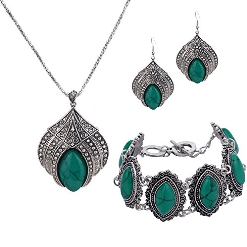 - 51oNm3w11HL - YAZILIND Jewelry Sets Silver Plated Retro Turquoise Claw Flower Pendant Necklace Drop Earrings Charming Bracelet