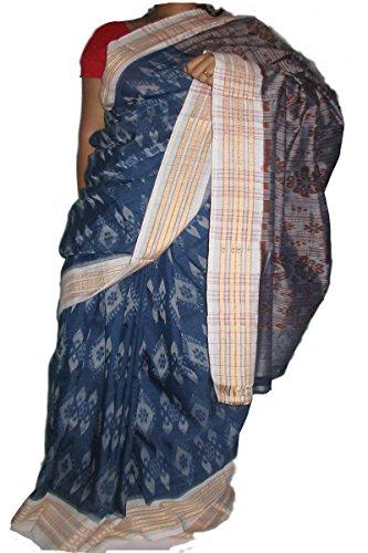 Devanshi handloom's Sambalpuri Cotton saree in Sky Blue