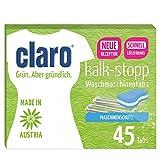 claro Kalk-Stopp Tabs 45 Stück - Kalkentferner für die Waschmaschine, Umweltfreundlicher Phosphatfreier Kalkentferner, 45 Tabs