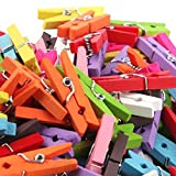 #5: Segolike 50 Pieces 2.5cm Mini Wood Craft Wooden Pegs Laundry Photo Paper Clips Clothespins Notes Message Folders