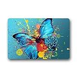 Butterfly doormats Blau Öl Plantschen Schmetterling Art Vlies Stoff/Badezimmer-Fußmatte Fußmatte Teppiche für Home/Office/Schlafzimmer 59,9cm (L) X 39,9cm (W)