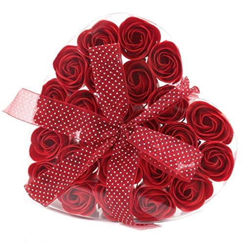 Scopri offerta per Sapone da bagno al profumo e forma di rosa rossa in confezione regalo a forma di cuore rosso per lei romantico regalo per San Valentino compleanno mamma moglie fidanzata