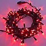 Guirnalda 10 m, 120 MaxiLED rojo, cableado verde, luces de colores, decoración navideña, guirnalda árbol de Navidad