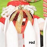 UKBIOLOGY 1 STÜCK Weihnachtsbaum Dekoration Anhänger Gemalte Ball Gewinde Weihnachtskugel 8 cm Anhänger Christbaumkugel Spirale Ball (red)