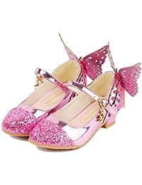 c88dc80d6 Aclth Zapatos de Correa de Tobillo para niños Sandalias de niña Peep  Princess Butterfly Kitten Heels