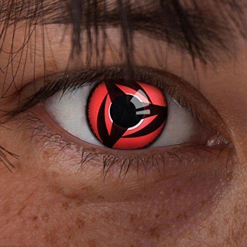 aricona Farblinsen  N°628 - Farbige 12-Monats Kontaktlinsen Paar ohne Stärke, weich und angenehm zu tragen, Wassergehalt: 42%, Mangekyou Sharingan