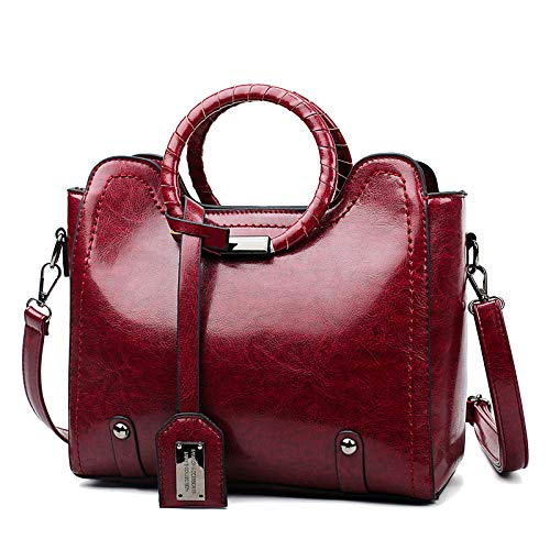 Frauen Umhängetasche Temperament Umhängetasche Retro Öl Leder Ring Handtasche Big Bag Damen Geschenktüte 1 Stück Weinrot