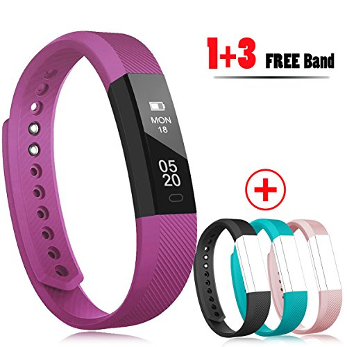 RobotsDeal Fitness Trackers Sleep Tracker Self Timer Fitness watches With Calorie Counter,Step Pedometer,Fitness Watches With 3PCS Straps for iPhone & Other Android Smartphones (Purple)
