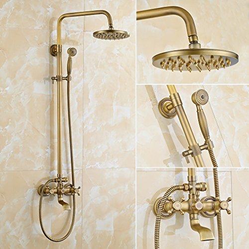 Retro Duschsystem, Auralum Duscharmatur mit Höhenverstellbar Duschstange Duschkopf inkl Überkopfbrause Handbrause und Wasserhahn Dusche Duschset Duschgarnitur Regendusche Shower Set