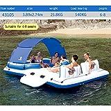 WOTR Großer Pool aufblasbares schwimmendes Boot Bett, schwimmende Reihe Schwimmring Lounge Chair Große Insel Wasserspielzeug geeignet für 6-8 Personen - 389 × 274 cm