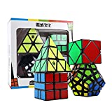 HJXDtech Moyu Paquete de 4 Cubos mágicos Paquete de Megaminx Pyraminx SQ-1 y Skewb Juego de Cubos mágicos Irregulares Muth de Velocidad Negra con Envoltura de Regalo