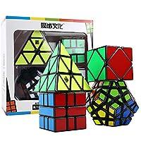 Comparador de precios HJXDtech Moyu Paquete de 4 Cubos mágicos Paquete de Megaminx Pyraminx SQ-1 y Skewb Juego de Cubos mágicos Irregulares Muth de Velocidad Negra con Envoltura de Regalo - precios baratos