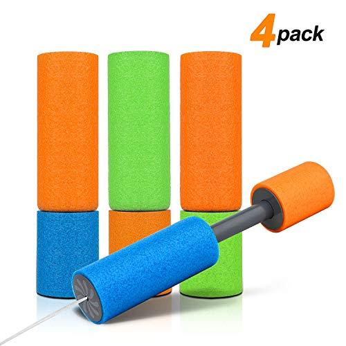 MOKIU 4er Set Wasserspritzpistole Wasserpistole Wasserspritze Mini Schaumstoff Spritzpistole für Kinder als Mitgebsel