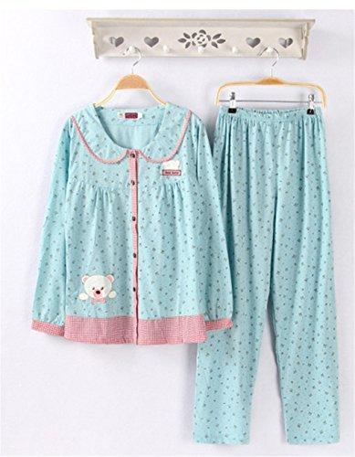 Naughtyspicy pigiama da donna / pigiama di stampa carina di cartone animato / completo di primavera e autunno Blu / Orso