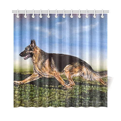 JOCHUAN Home Decor Bad Vorhang Cool Animal Running Dog Schäferhund Polyester Stoff Wasserdicht Duschvorhang Für Badezimmer, 72 X 72 Zoll Duschvorhänge Haken Enthalten (Bei Spielzeug Walmart Coole)