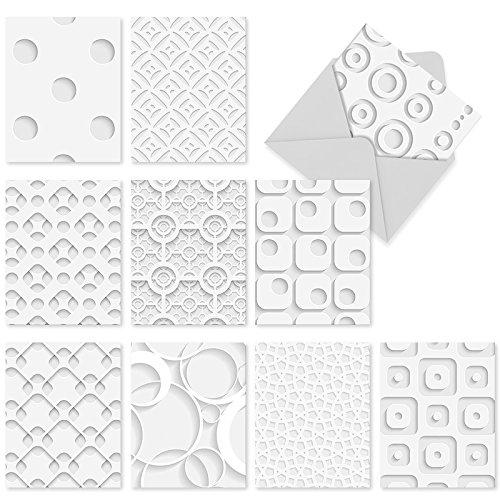 M2031 Grußkarten für alle Anlässe, blanko, mit weißen Umschlägen, Weiß auf Weiß, 10 Stück