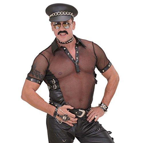 NET TOYS Hardrock Leder Mütze Biker Rocker Punker Ledermütze Cap Ledercap Lederhut Kostüm Zubehör Bikermütze Rockermütze schwarz - Village People Biker Kostüm