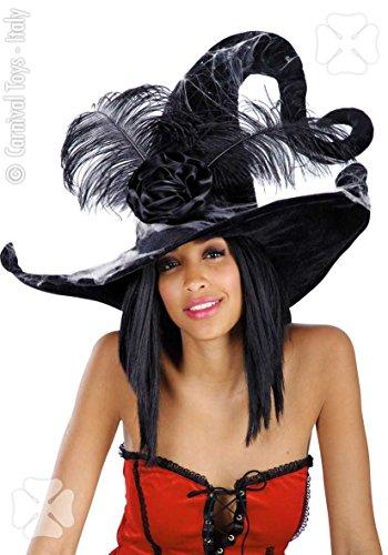 Carnivaltoys - cappello strega in velluto nero con ragnatela - halloween carnevale
