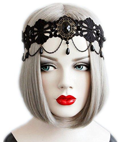 Linshe Neu Frauen Sexy/Reizvolles Spitze Stirnband/Kopfband Halloween Eleganter Haarschmuck Elastische Stirnbänder für Damen (Kostüme Tragen Frauen)