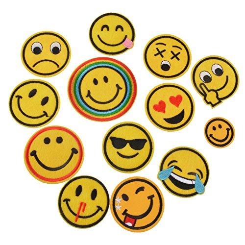 13 parches termoadhesivos emoticonos amarillos bordados para cazadoras, pantalones, zapatillas, ropa, scrapbooking, costura.. de OPEN BUY