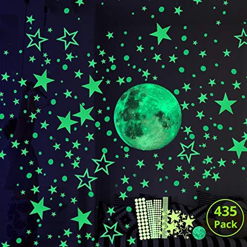 Hauserlin Wandsticker selbstklebend Leuchtsticker Wandtattoo,435 Leuchtsterne/Leuchtpunkte für deinen Sternenhimmel und fluoreszierend Leuchtaufkleber für Kinderzimmer