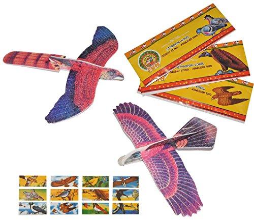 3 Stk. Styroporflieger Vogel - Flieger aus Styropor - Vögel zum Werfen Wurfgleiter z.B. für Kindergeburtstag - Styroporvogel / Styroporflugzeug - Adler Geier Tauben
