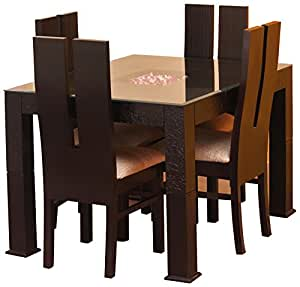 George and George GNG_D003 Four Seater Dining Table Set (Matte Finish, Brown)