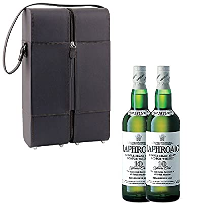 2 x Laphroaig 10 Year Old Single Malt Whisky 70cl Bottles in Faux Leather Gift Box with Hand Crafted Gifts2Drink Tag
