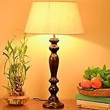 #7: Homesake Eureka Polka Black Wood Table Lamp With Khadi Shade