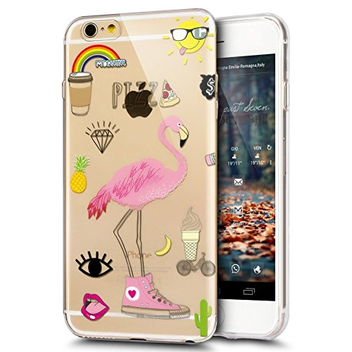 JAWSEU Coque Etui pour iPhone 6/6S 4.7,iPhone 6S Coque Transparent en Silicone,iPhone 6 Étui Tpu Cristal Clair,Ultra Slim Mince Coloré Créatif Lovely Flamingo Motif Silicone Gel Protecteur Téléphone C Flamingo 5