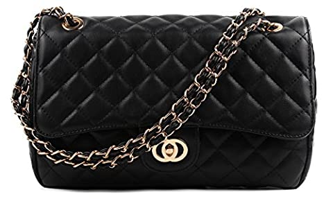 Aossta Womens Large Faux Leather Quilted Twist Lock Shoulder Bag (6020 Black)