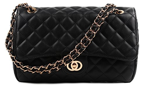 aossta-womens-large-faux-leather-quilted-twist-lock-shoulder-bag-6020-black