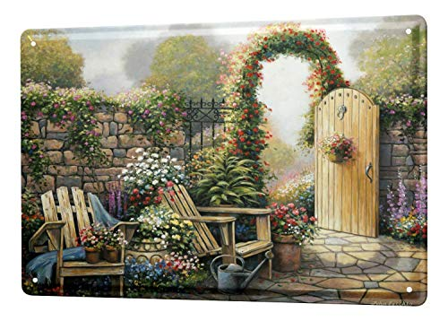Garden Wall Plate (St574ony Metal Sign 12x16 Inches Poster Plaque Tin Plate Vintage Plaque Flower Shop Garden Gate Flowers)