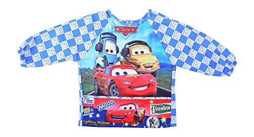 Baby Bucket Cars Print long sleeves waterproof apron Bib eating painting crumb catcher (D. Blue, XL)
