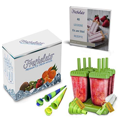 Freshelato - Eis am Stiel/Wassereisformen Set + 2 x Silikon Eis Pop Form + Trichter + Bürste + Rezeptbuch (Ebook auf Deutsch) (Grün)