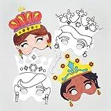 Maschere da Principessa da Colorare per Bambini, da Creare e Decorare - Set per Creazioni e Carnevale per Bimbi (Confezione da 6)