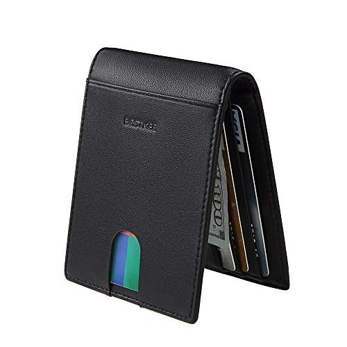 Portefeuille Homme Cuir, RFID Blocage Porte Carte Porte Feuille Porte-Monnaie (Noir)