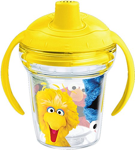Tervis 1242375 Sesame Street Insulated Tumbler with Wrap and Bumblebee Yellow Lid, 6 oz Sippy Cup - Tritan, Clear Tervis Wrap