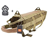 Geekbuzz Tactical Dog Training Molle Vest military Dog Harness Jacket with Handle for Outdoor Activities (L, Tan)
