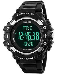 Hombres deportes pulsómetro podómetro contador de calorías reloj de pulsera resistente al agua plata