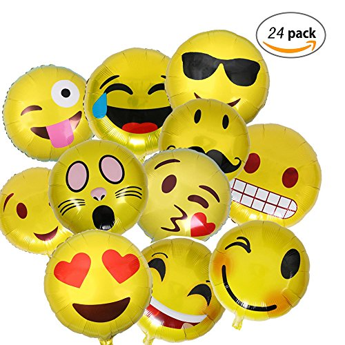 Dancepandas Emoji Globos,Expresiones Faciales decoracion con globos,Fiesta de Cumpleaños del Festival,24-Piezas las expresiones faciales decoracion(18inch)