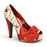 Pin Up Couture - Bettie Cream Pu-Red Satin Platform Pump with Tattoo Print UK 8