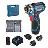 Bosch Professional 06019F600D Trapano-Avvitatore a Batteria, 12 V, Blu, Amazon Edition con Set di Accessori