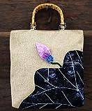 Rrock Chinesischen Stil Handgemachte Lotus Dicke Baumwolle und Leinen Literarische Handtasche Weibliche Stoffbeutel,White