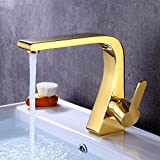 Denocel Waschtischarmaturen Moderne Mischhahn Kunst Einzigen Handgriff Wasserhahn Waschbecken Wasserhahn Messing Mixer Goldenen Spiegeleffekt